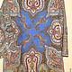 Павлопосадский платок Шафран. Платье прямое,  рукав прямой 3/4, на подкладке вискоза 100 %, цвет синий,  тонкая шерсть,  нарядное и повседневное, на рост 116-128