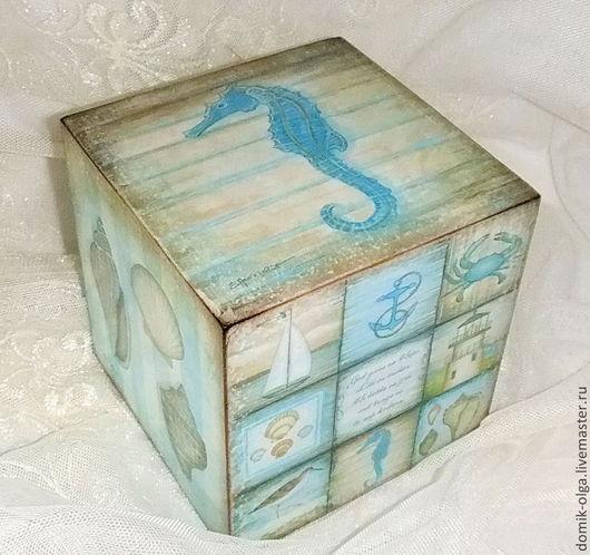 """Детская ручной работы. Ярмарка Мастеров - ручная работа. Купить Большой кубик """"Морские акварели"""". Handmade. Голубой, морской стиль"""