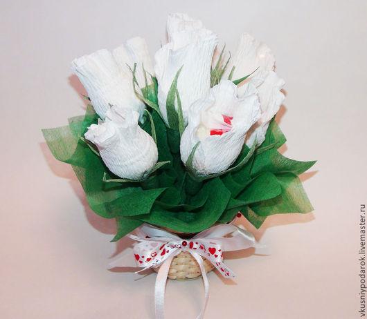 """Букеты ручной работы. Ярмарка Мастеров - ручная работа. Купить Букет из  роз """"Рафаэлло"""". Handmade. Белый, учителю, подарок любимой"""