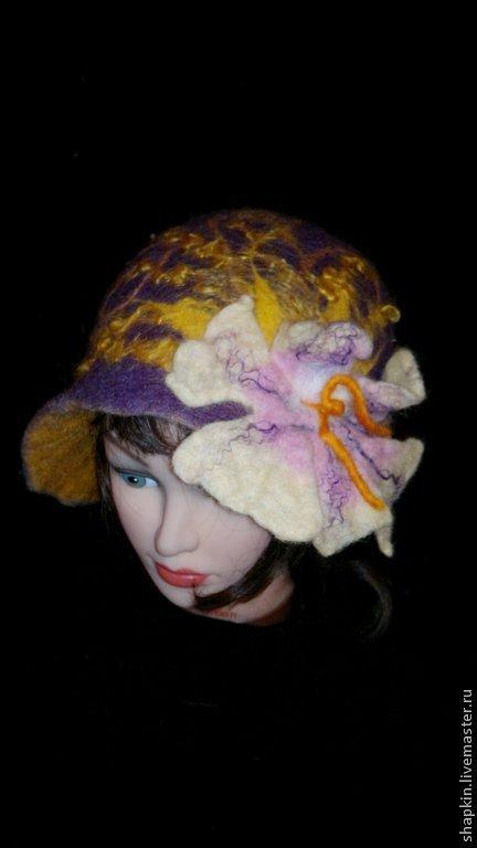 Банные принадлежности ручной работы. Ярмарка Мастеров - ручная работа. Купить Шляпка валяная дл бани Фиолетовый каприз. Handmade.