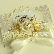 Открытки ручной работы. Ярмарка Мастеров - ручная работа Свадебный конверт открытка Айвори. Handmade.