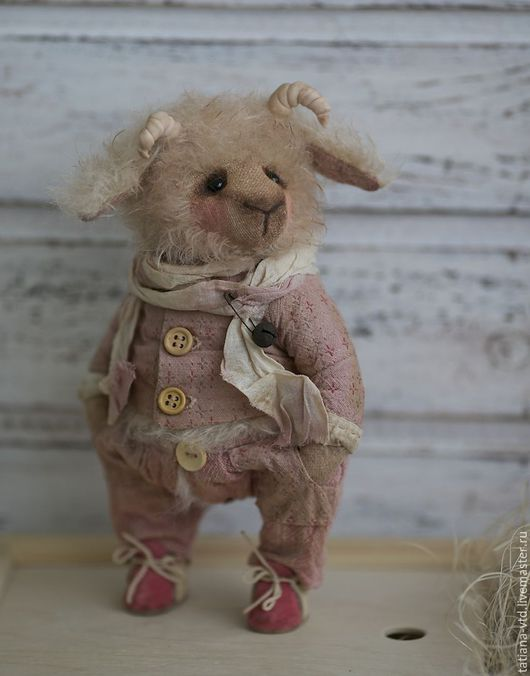 Мишки Тедди ручной работы. Ярмарка Мастеров - ручная работа. Купить Барашек Кристиан. Handmade. Бледно-розовый, ручная работа