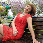 Одежда ручной работы. Ярмарка Мастеров - ручная работа Красное платье С каймой Ирландское кружево вязаное крючком. Handmade.