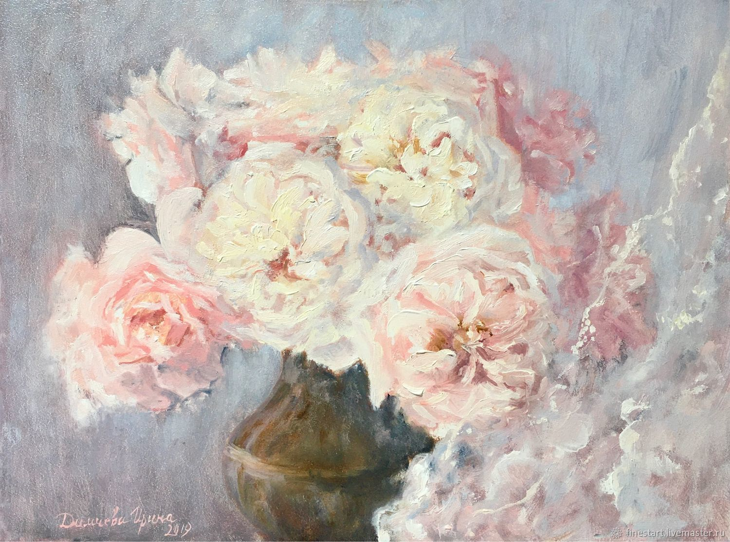 Oil painting Bouquet of lush roses, Pictures, Tula,  Фото №1