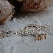 Свадебный салон ручной работы. Ярмарка Мастеров - ручная работа Свадeбный грeбeнь со страусиным пeром. Handmade.