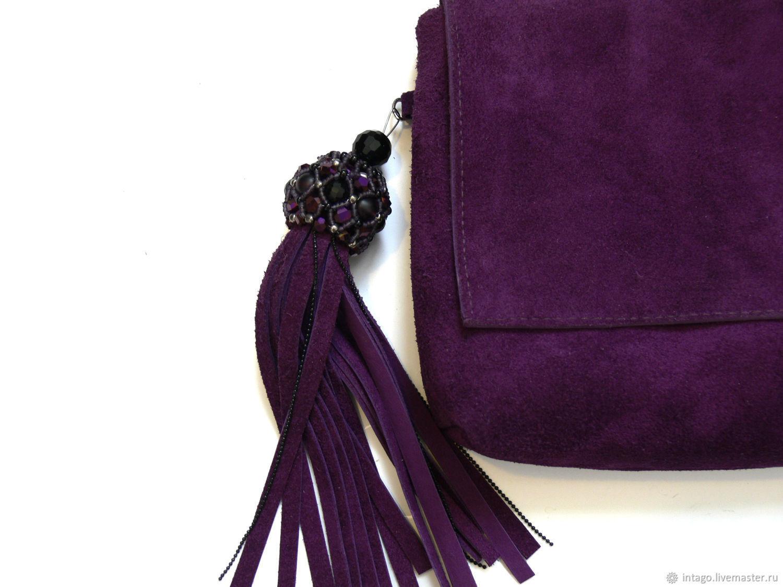 select for latest various colors rich and magnificent Purple suede clutch bag with brush – заказать на Ярмарке Мастеров –  HI6X3COM   Клатчи, Novosibirsk