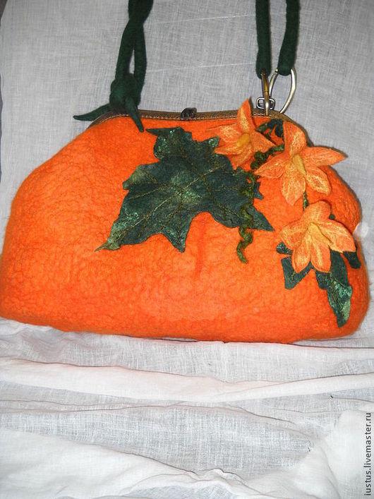 Женские сумки ручной работы. Ярмарка Мастеров - ручная работа. Купить Тыквенная сумочка. Handmade. Рыжий, цветок тыквы