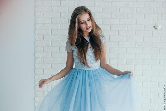 Платья ручной работы. Ярмарка Мастеров - ручная работа. Купить Воздушное платье. Handmade. Голубой, легкость, еврофатин, пудровый, кружево