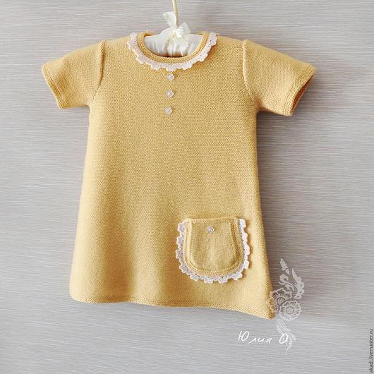 Одежда для девочек, ручной работы. Ярмарка Мастеров - ручная работа. Купить теплое платье для девочки вязаное шерсть меринос. Handmade.