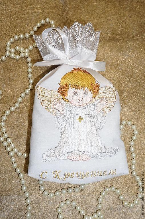 """Крестильные принадлежности ручной работы. Ярмарка Мастеров - ручная работа. Купить Подарочный мешочек . """"Ангелок"""". Handmade. Белый, крестильный набор"""