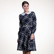 Одежда ручной работы. Ярмарка Мастеров - ручная работа 038: повседневное платье в клетку, офисное платье из тонкой шерсти. Handmade.