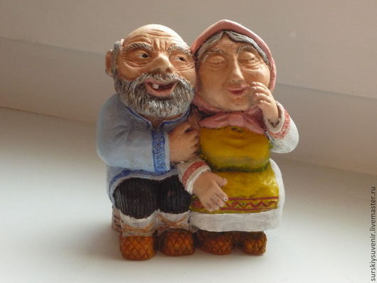 Бабка с дедкой, статуэтка, раскрашеные
