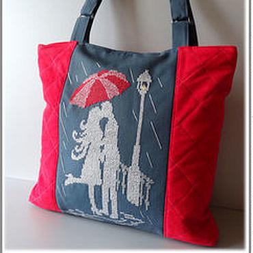 """Сумки и аксессуары ручной работы. Ярмарка Мастеров - ручная работа Сумка замшевая """"Под зонтом"""" - сумка красная, сумка серая, сумка А4. Handmade."""