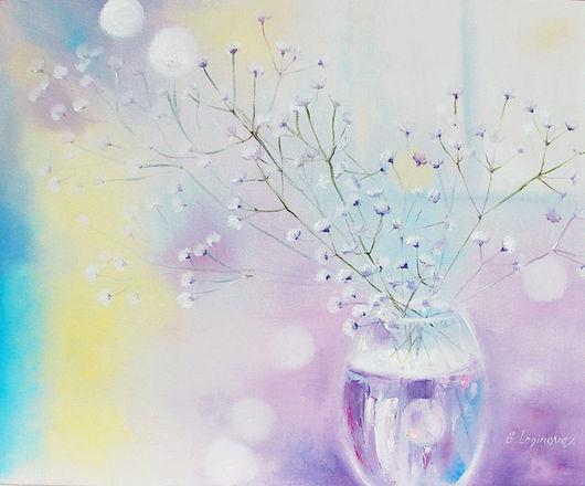 Картины цветов ручной работы. Ярмарка Мастеров - ручная работа. Купить Картина маслом Лиловое утро. Handmade. Бледно-сиреневый