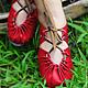 """Обувь ручной работы. Ярмарка Мастеров - ручная работа. Купить Красные кожаные сандалии """"Red Moon"""". Handmade. Ярко-красный"""