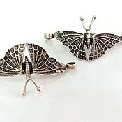 Материалы для творчества handmade. Livemaster - original item Butterfly. Metal connector, antique silver color 50x24mm. Handmade.