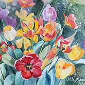 """Картины и панно ручной работы. Ярмарка Мастеров - ручная работа Акварель """"Тюльпаны"""". Handmade."""