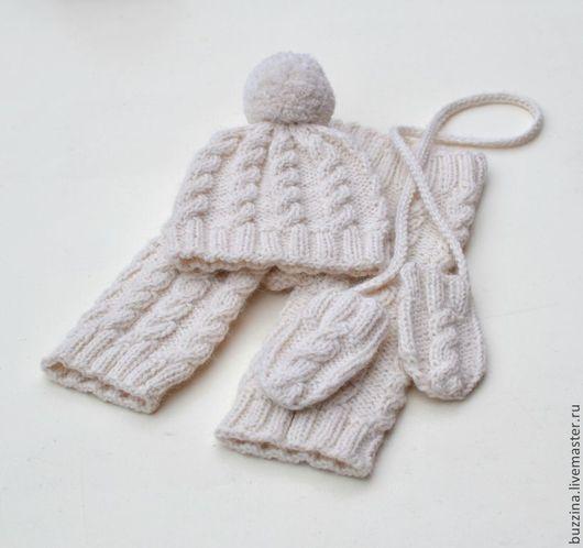 Для новорожденных, ручной работы. Ярмарка Мастеров - ручная работа. Купить Комплект для фотосессии новорожденных шапочка+штанишки+варежки. Handmade. Шапочка детская