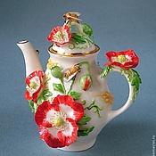 Посуда ручной работы. Ярмарка Мастеров - ручная работа Чайничек Маки и васильки. Handmade.