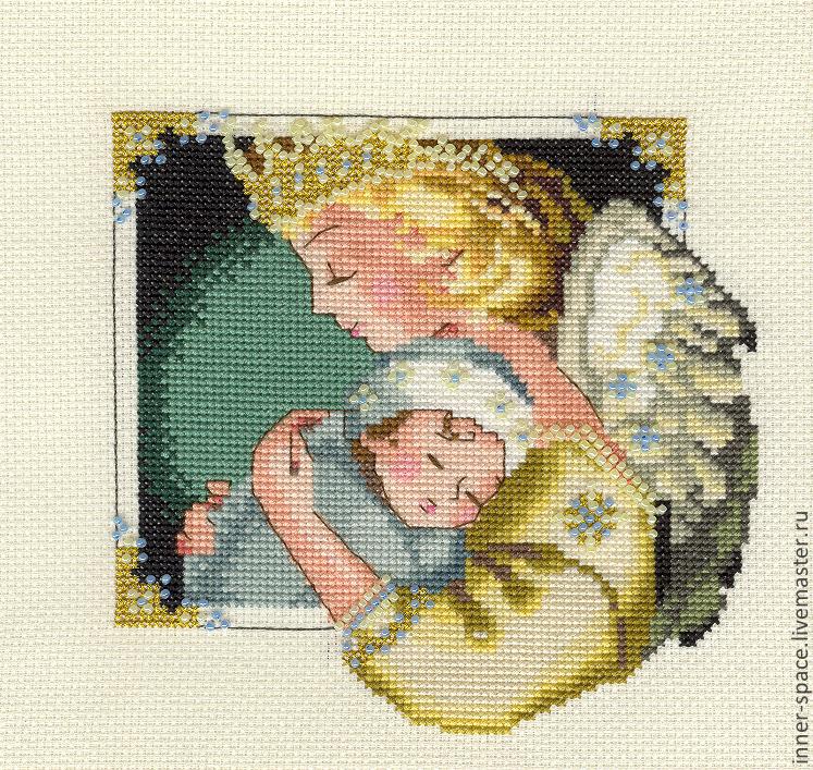 Вышивка крестом и бисером в одной картине