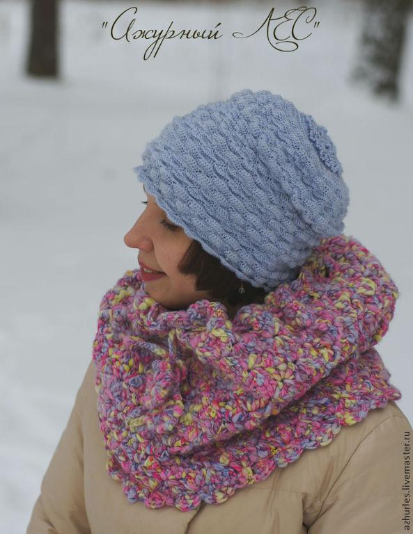 Женская шапка шапочка на зиму весну легкая вязаная серая, Шапки, Екатеринбург,  Фото №1