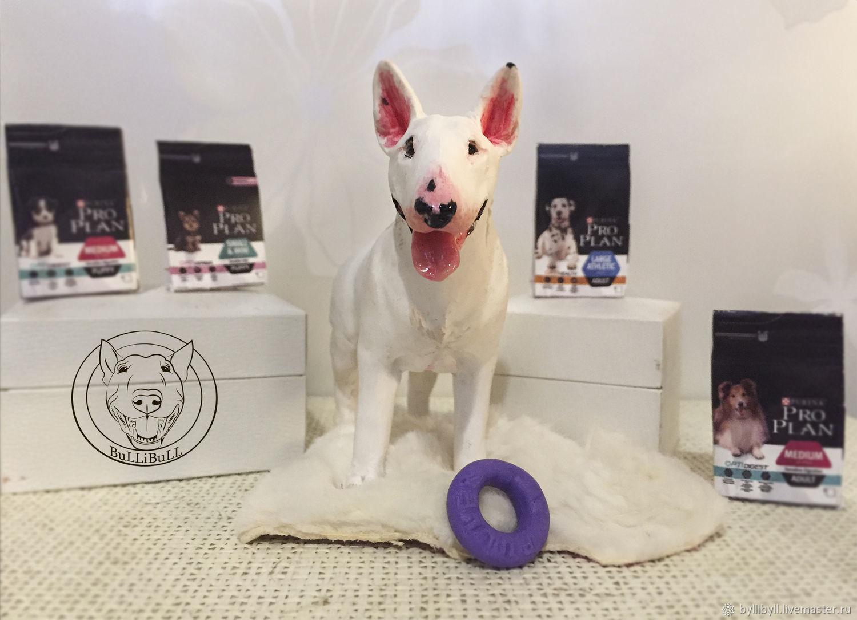 Figurines handmade. Livemaster - handmade. Buy Bull Terrier standard.White, portrait toy, white bull terrier, jewelry resin