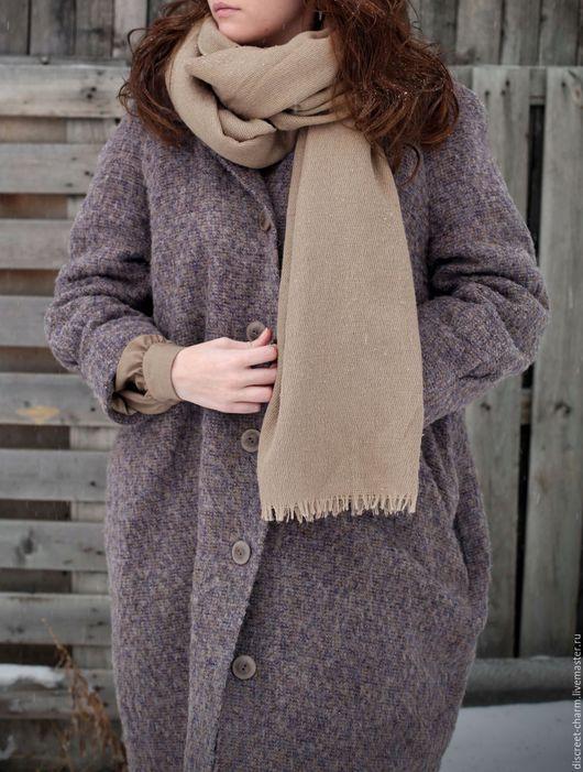 Верхняя одежда ручной работы. Ярмарка Мастеров - ручная работа. Купить Зимнее утепленное (демисезонное) пальто, шерсть с мохером, сиреневое. Handmade.
