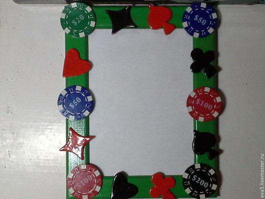Фоторамки ручной работы. Ярмарка Мастеров - ручная работа. Купить Фоторамка мужская Покер-полимерная глина. Handmade. Покер, фишки