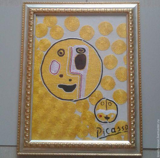 """Символизм ручной работы. Ярмарка Мастеров - ручная работа. Купить вышивка """"Picasso"""". Handmade. Канва, счастье, красный, желтый цвет"""
