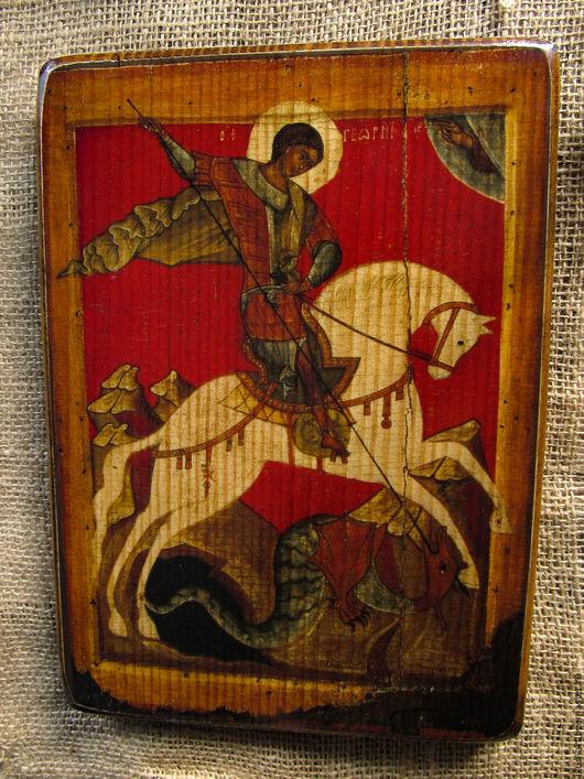 Икона на дереве Свято Георгий Победоносец. Ручная работа.
