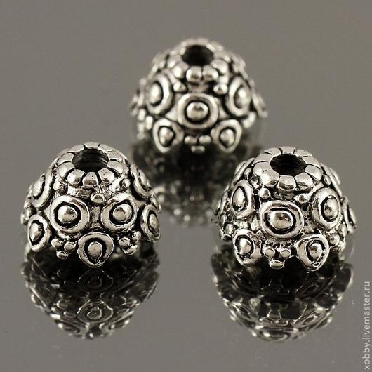 Шапочки для бусин в тибетском стиле с объемным орнаментом по поверхности в виде шишечек bumps для использования в сборке украшений\r\nМатериал сплав\r\nЦвет античное серебро