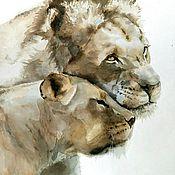 Картины и панно handmade. Livemaster - original item Watercolor painting Wild cats (gray beige brown gift to lions). Handmade.