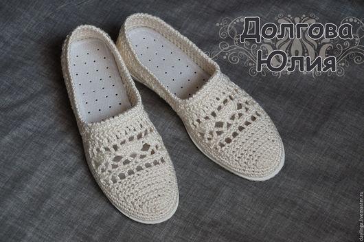 """Обувь ручной работы. Ярмарка Мастеров - ручная работа. Купить Мокасины  """"Лето в ажуре"""" / вязаная обувь. Handmade. Бежевый"""