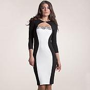 Одежда ручной работы. Ярмарка Мастеров - ручная работа 020:коктейльное платье черно-белое, облегающее платье с кружевом. Handmade.