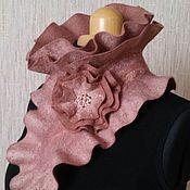 """Аксессуары ручной работы. Ярмарка Мастеров - ручная работа Валяный шарф-горжетка """"Капучино"""". Handmade."""