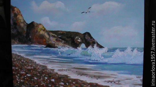 Пейзаж ручной работы. Ярмарка Мастеров - ручная работа. Купить морской берег с чайкой. Handmade. Голубой, кисть, красивый подарок