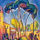 Пейзаж ручной работы. Ярмарка Мастеров - ручная работа. Купить Картина маслом пейзаж Жаркий день в Тегеране. Handmade. Живопись