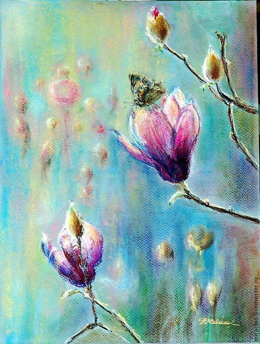 """Картины цветов ручной работы. Ярмарка Мастеров - ручная работа. Купить Картина пастелью """"Время раскрывающихся листьев"""". Handmade. Весна"""