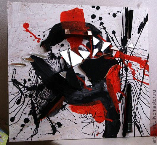Объемная абстрактная картина И.Гора `Слово Самурая`. Экспрессивная манера, знаковая выразительность, колористический символизм. Эффектное декоративное панно для стильного интерьера.