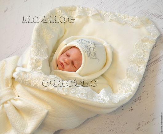 """Для новорожденных, ручной работы. Ярмарка Мастеров - ручная работа. Купить Комплект на выписку """"Ваше королевское величество"""" молочный. Handmade."""
