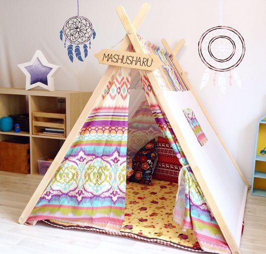 """Детская ручной работы. Ярмарка Мастеров - ручная работа. Купить Палатка """"калейдоскоп"""". Handmade. Палатка, подушка, подушка декоративная, флажки"""