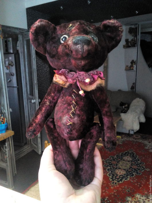 Мишки Тедди ручной работы. Ярмарка Мастеров - ручная работа. Купить Вишневый компот. Handmade. Бордовый, медвежонок, плюш винтажный
