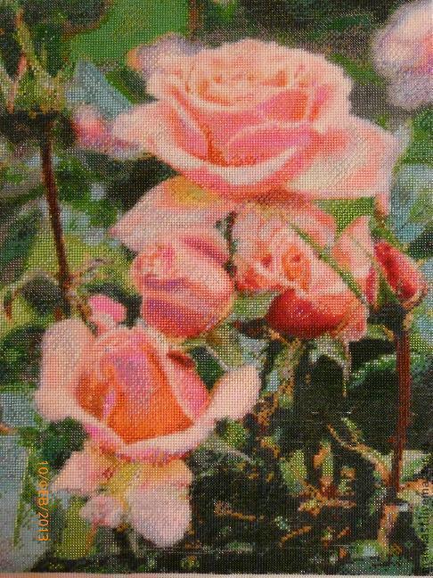 Картины цветов ручной работы. Ярмарка Мастеров - ручная работа. Купить Картина Розы бисером с добавлением swarovski. Handmade. Розовый