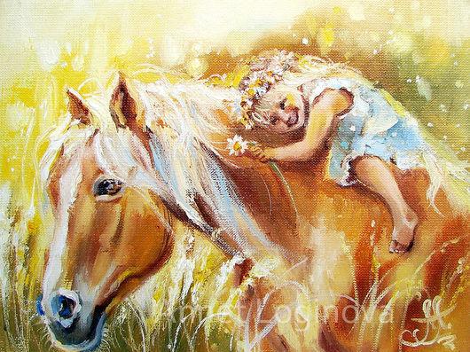Животные ручной работы. Ярмарка Мастеров - ручная работа. Купить Моя лошадка. Handmade. Теплые оттенки, девочка, картина сдевочкой