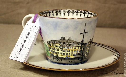 """Сервизы, чайные пары ручной работы. Ярмарка Мастеров - ручная работа. Купить чайно-кофейная пара """"Аврора"""". Handmade. Золотой"""