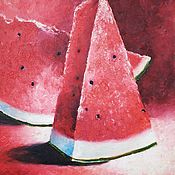 Картины и панно handmade. Livemaster - original item Painting still life Juicy watermelon oil painting. Handmade.