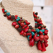 Украшения handmade. Livemaster - original item Necklace Sea treasure, coral, red a large bunch on the chain. Handmade.