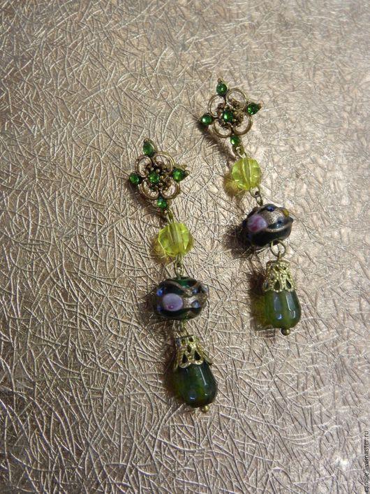 """Серьги ручной работы. Ярмарка Мастеров - ручная работа. Купить Серьги """"Венецианский вальс"""". Handmade. Зеленый, серьги с подвесками"""