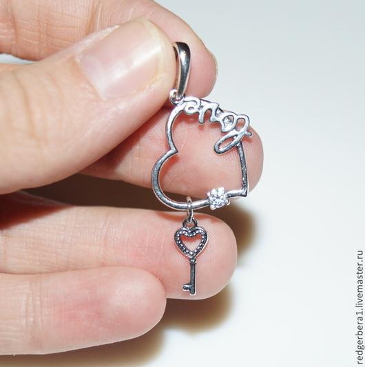 """Для украшений ручной работы. Ярмарка Мастеров - ручная работа. Купить Кулон """"Сердце с ключиком"""" -  серебрение 925 пробы. Handmade."""