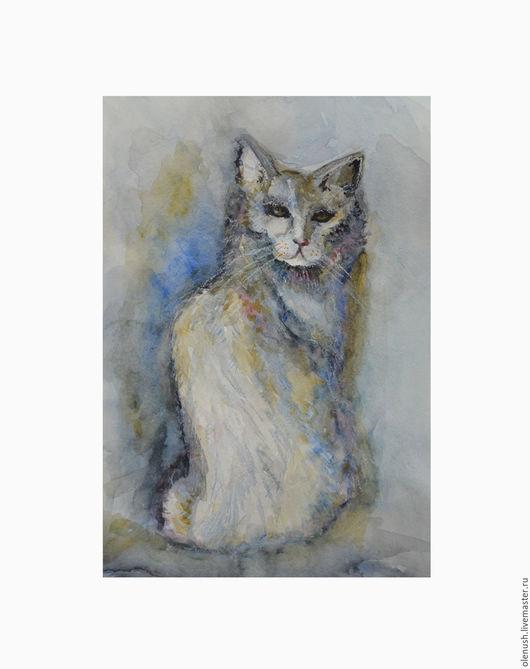 """Животные ручной работы. Ярмарка Мастеров - ручная работа. Купить Картина акварелью """"Кот"""". Handmade. Комбинированный, кот, кошка"""
